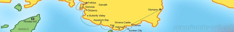 This will be our route for blue cruise from Fethiye to Olympos.