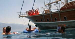 You can enjoy with your friends during the blue cruise from Fethiye to Olympos.