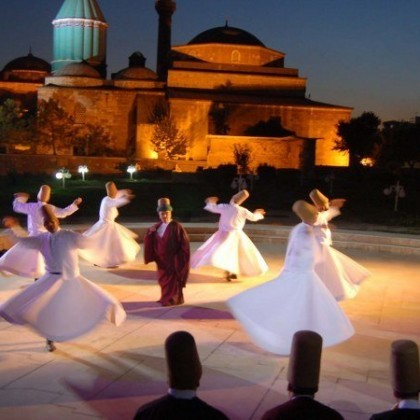 You can see these people who goes from the Mevlana's road. They are locked oneself into Mevlana.